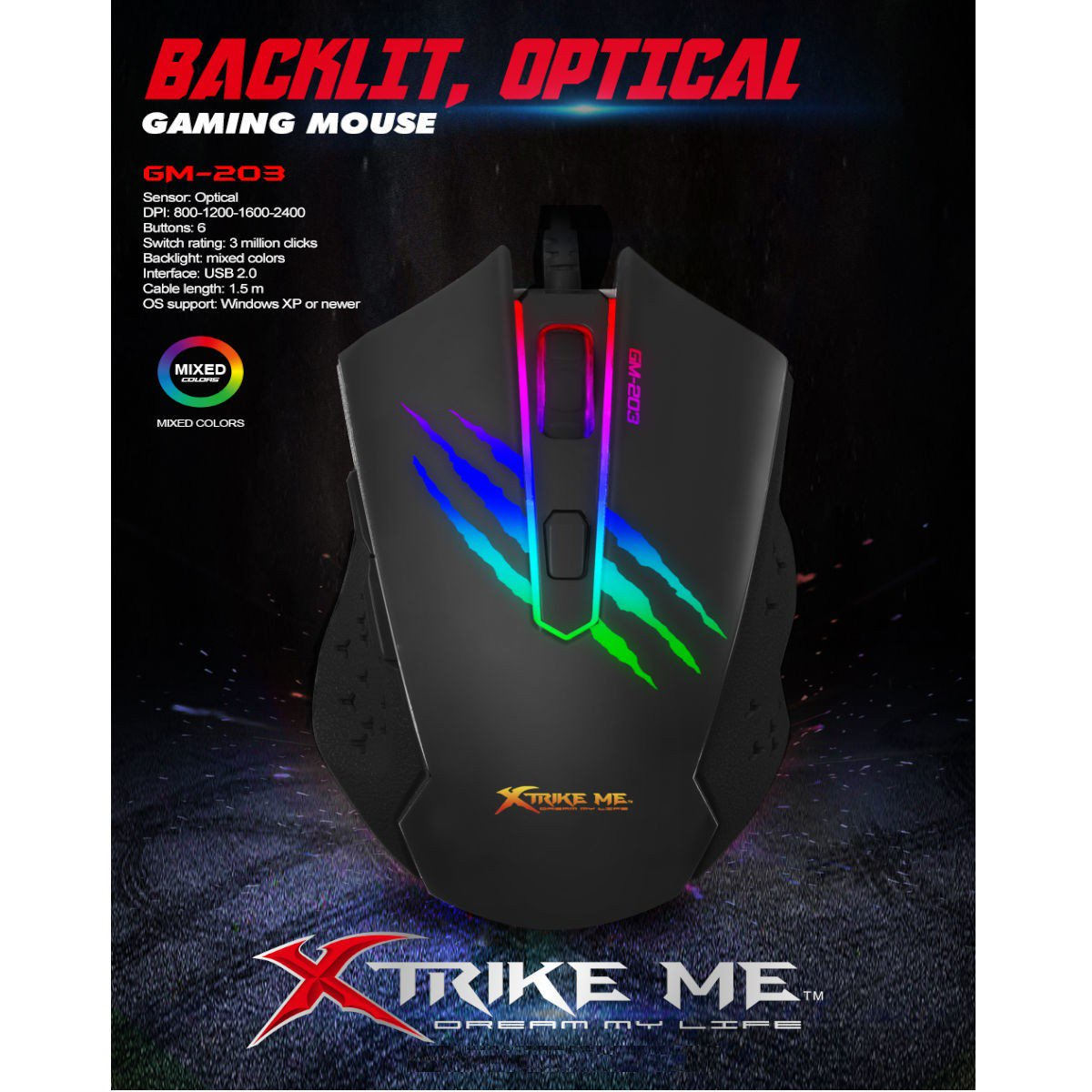 MOUSE GAMER 6 BOTONES 7 COLORES GM-203
