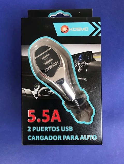CARGADOR KOSMO CAR 12V 5.5 A TURBO LUXURY CHARGER (3 SALIDAS