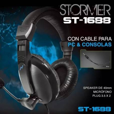 AURICULARES NOGANET ST-1688 STORMER GAMER MIC 3,5MM PC + PS4