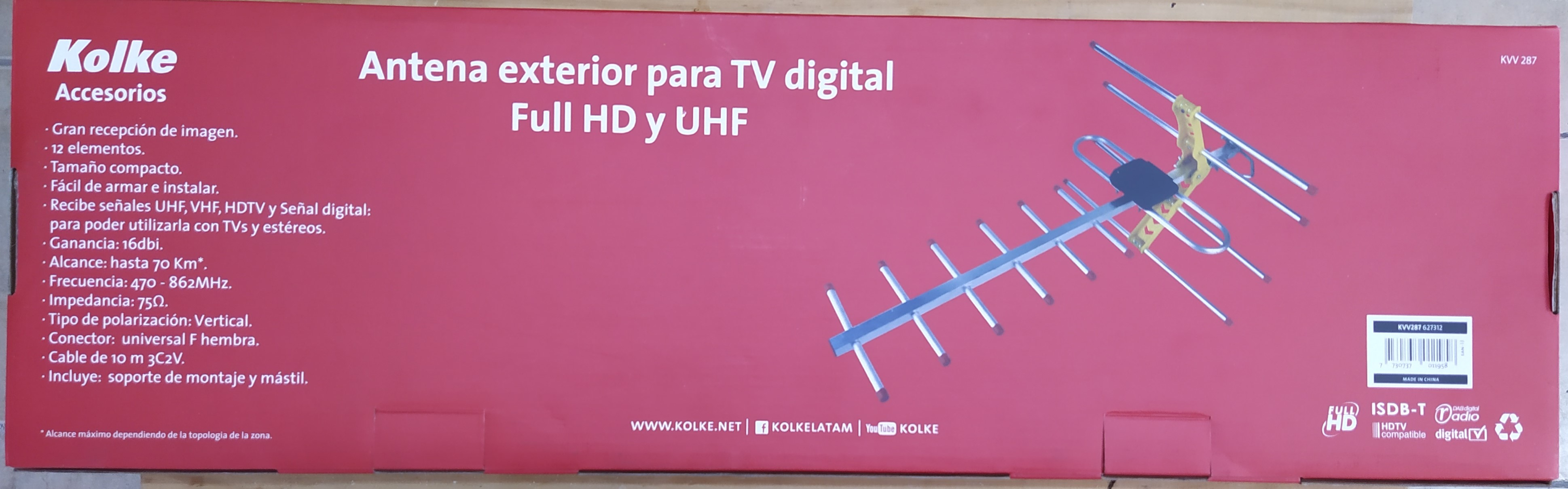 E16 ANTENA EXTERIOR PARA TV DIGITAL FULL HD Y UHF KOLKE
