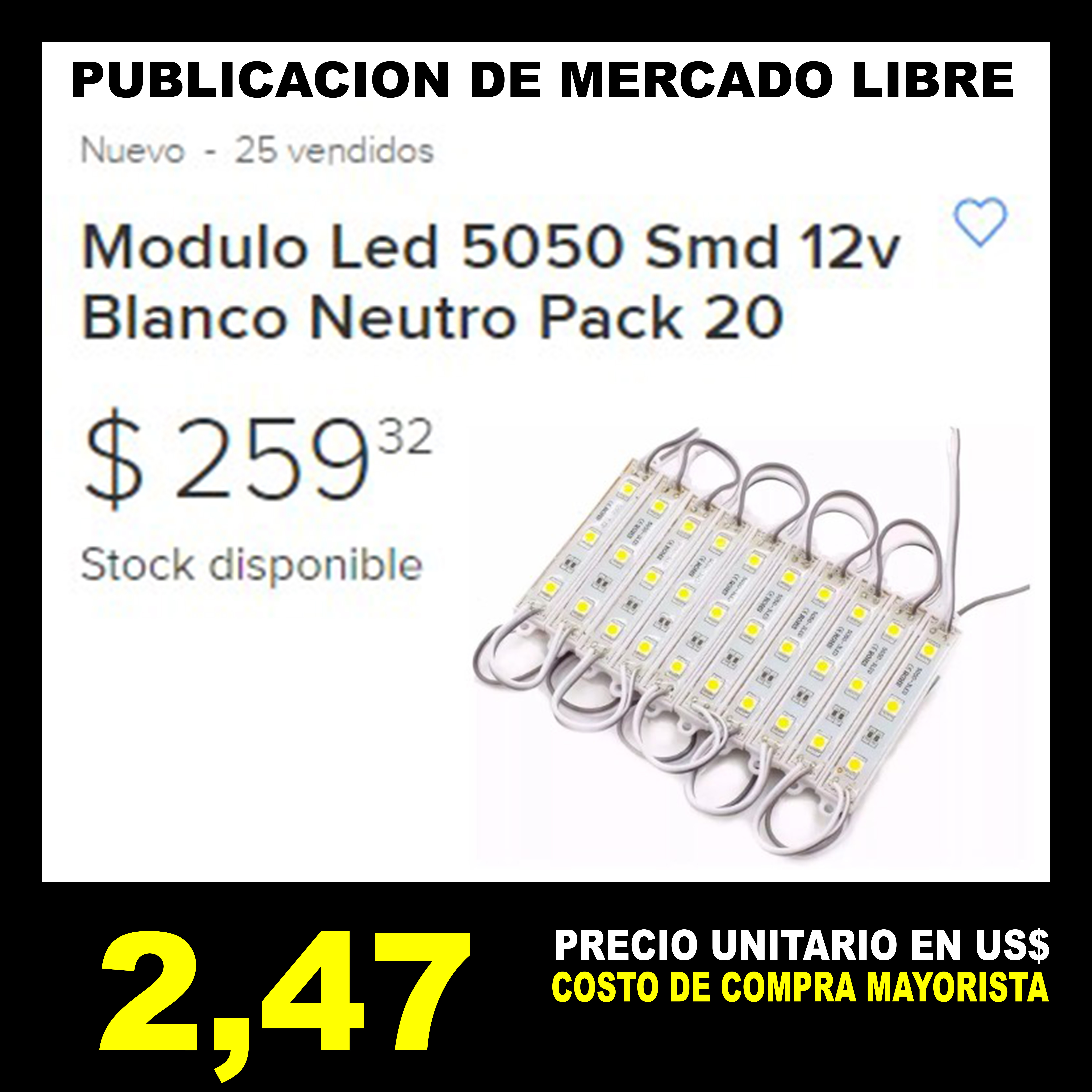 MLD Modulo Led 5050 Smd 12v Blanco Neutro Pack 20
