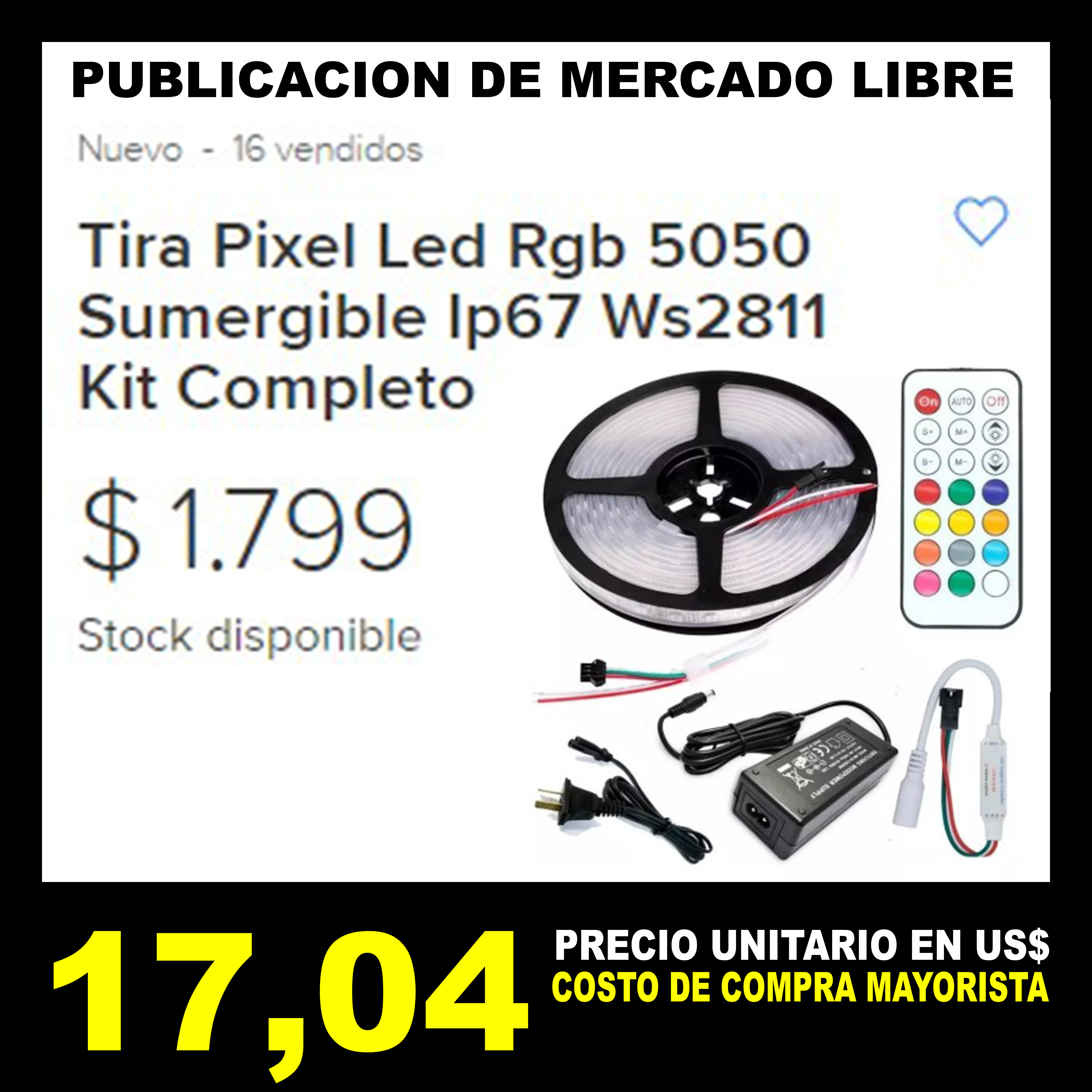 MLD Tira Pixel Led Rgb 5050 Sumergible Ip67 Ws2811 Kit Com