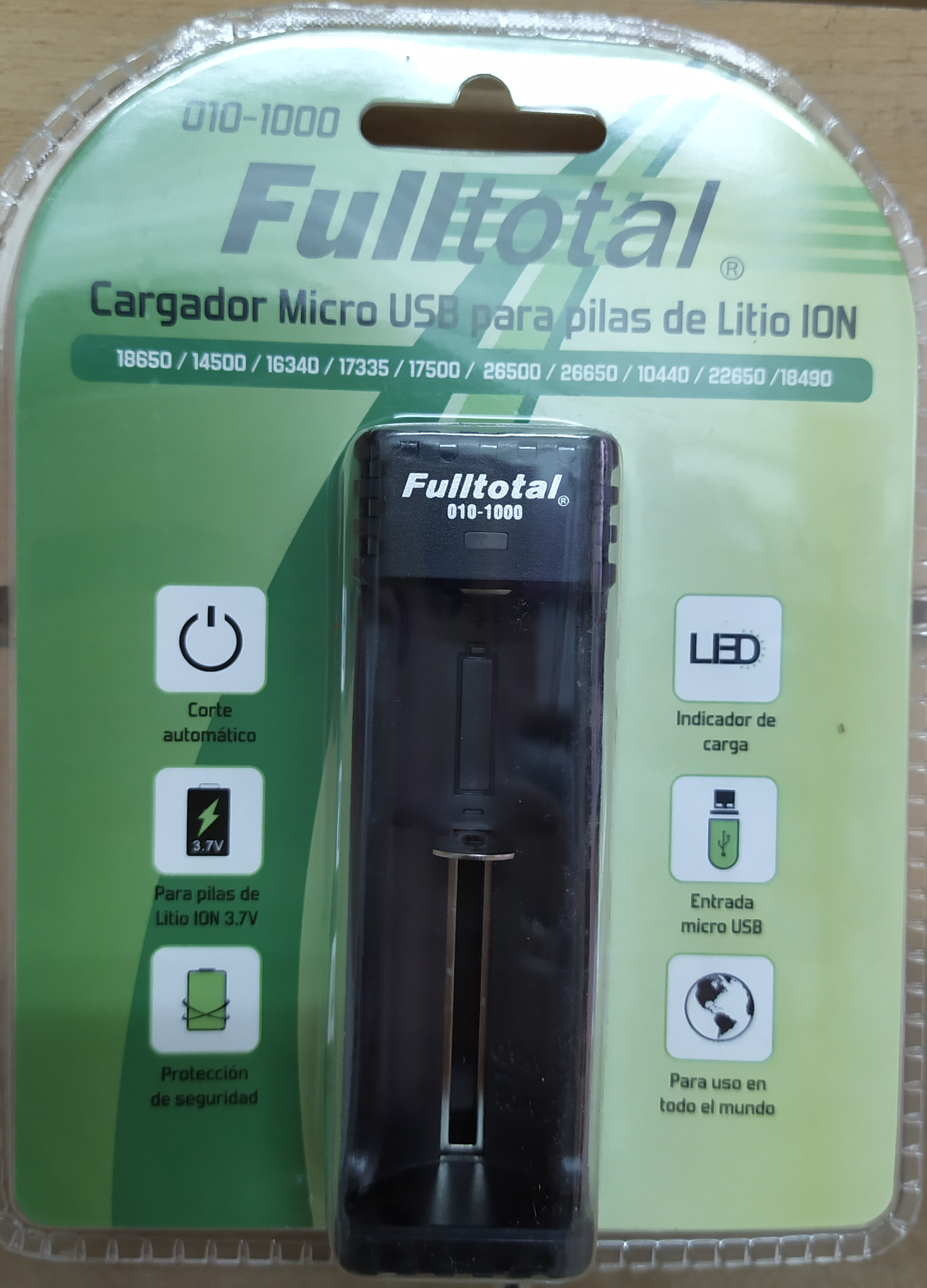 E16 CARGADOR M/USB PARA PILAS LITIO ION F-TOTAL 1000