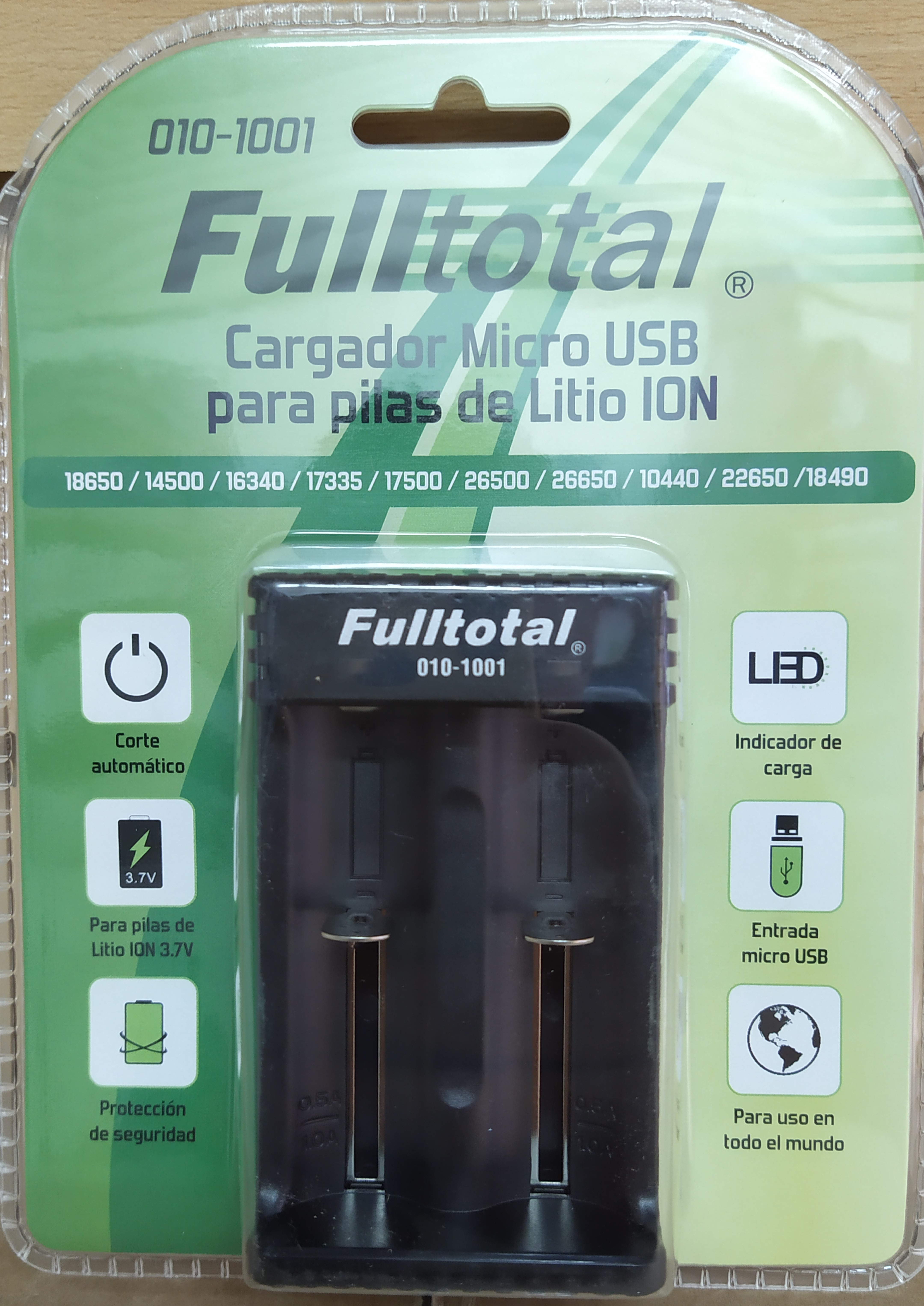 E16 CARGADOR M/USB 2 PILAS DE LITIO ION F-TOTAL 1001