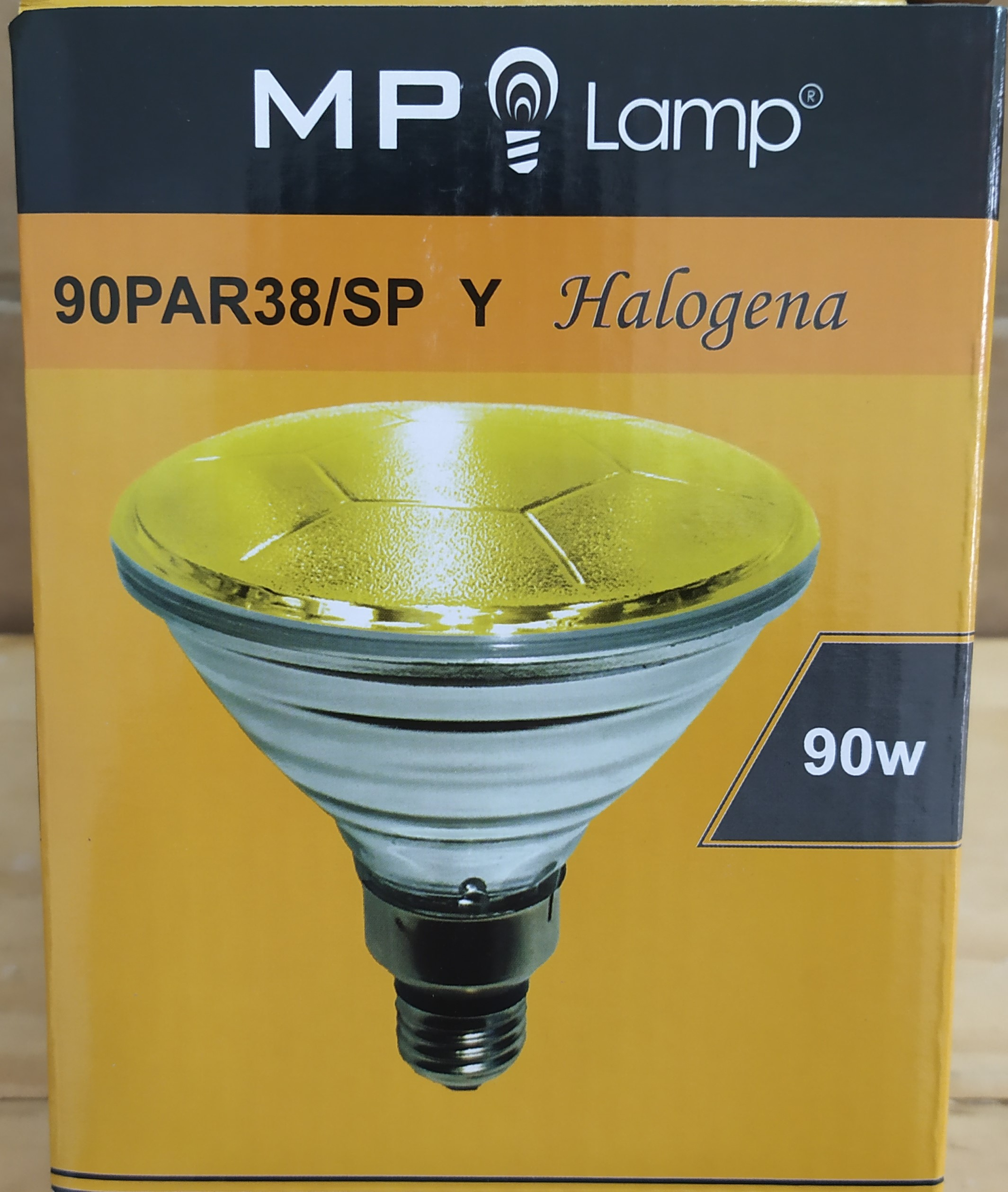 E16 LAMPARA HALOGENA 90PAR38/SP AMARILLA 90W R/E27 MP