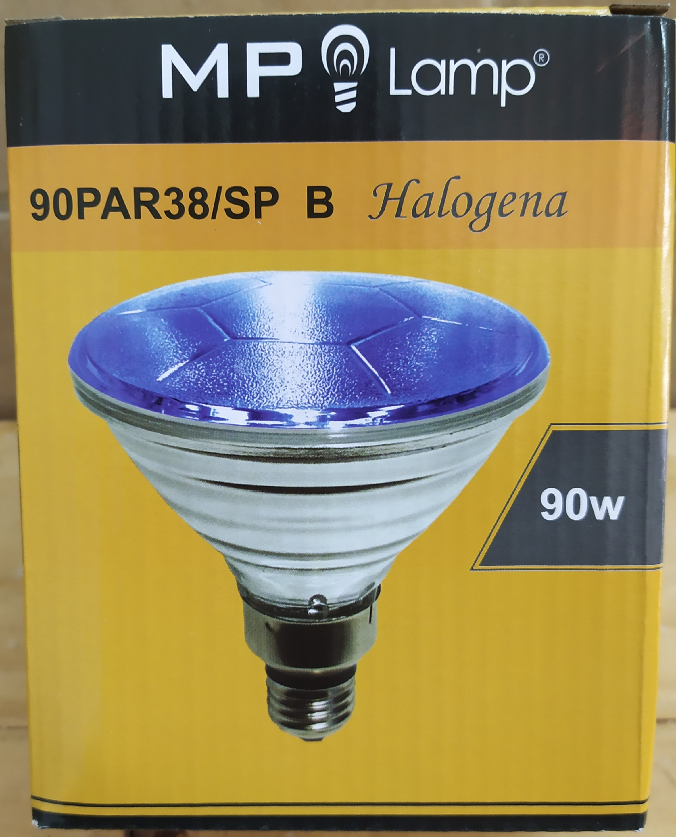 E16 LAMPARA HALOGENA 90PAR38/SP AZUL 90W R/E27 MP