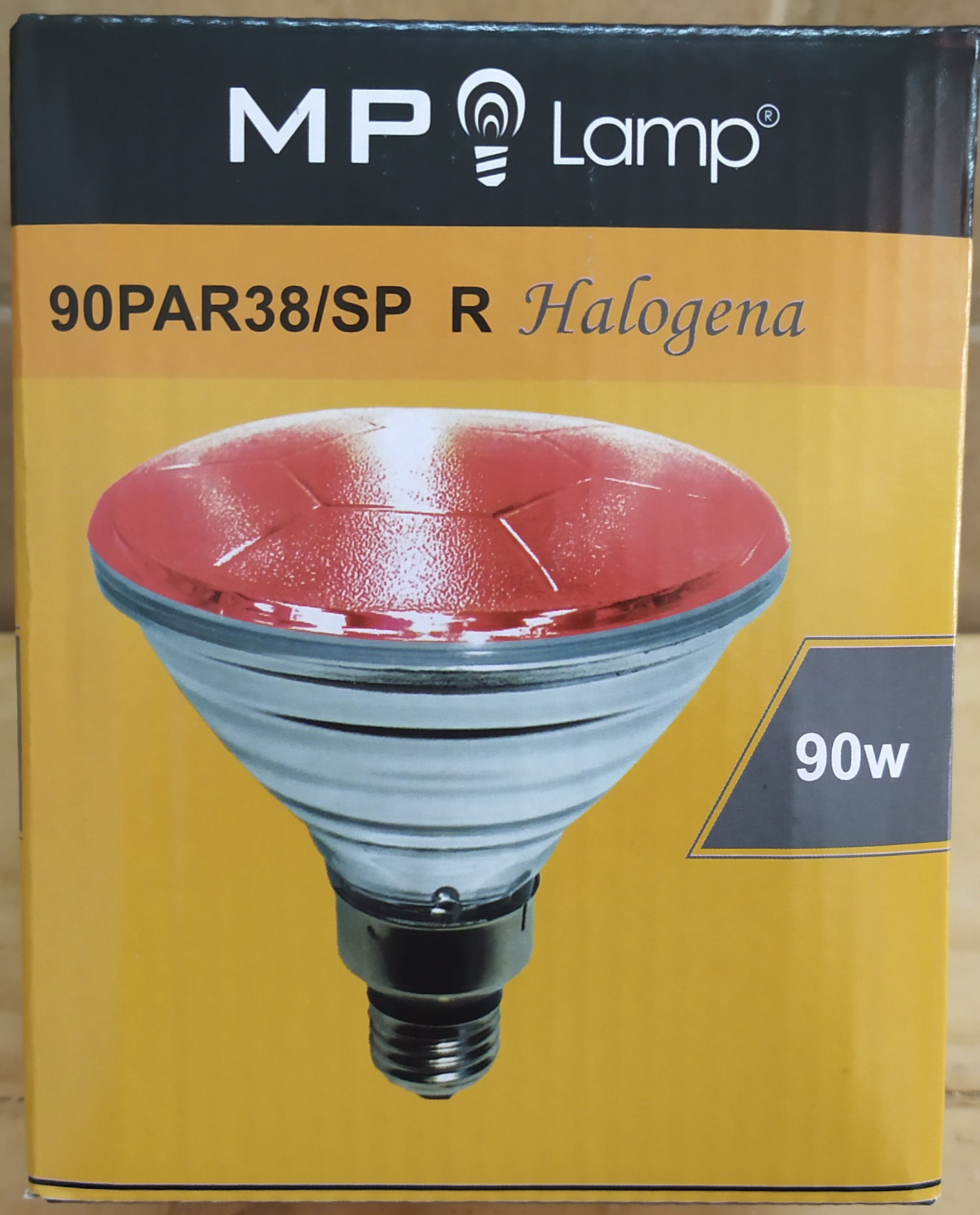 E16 LAMPARA HALOGENA 90PAR38/SP ROJA 90W ROSCA E27 MP