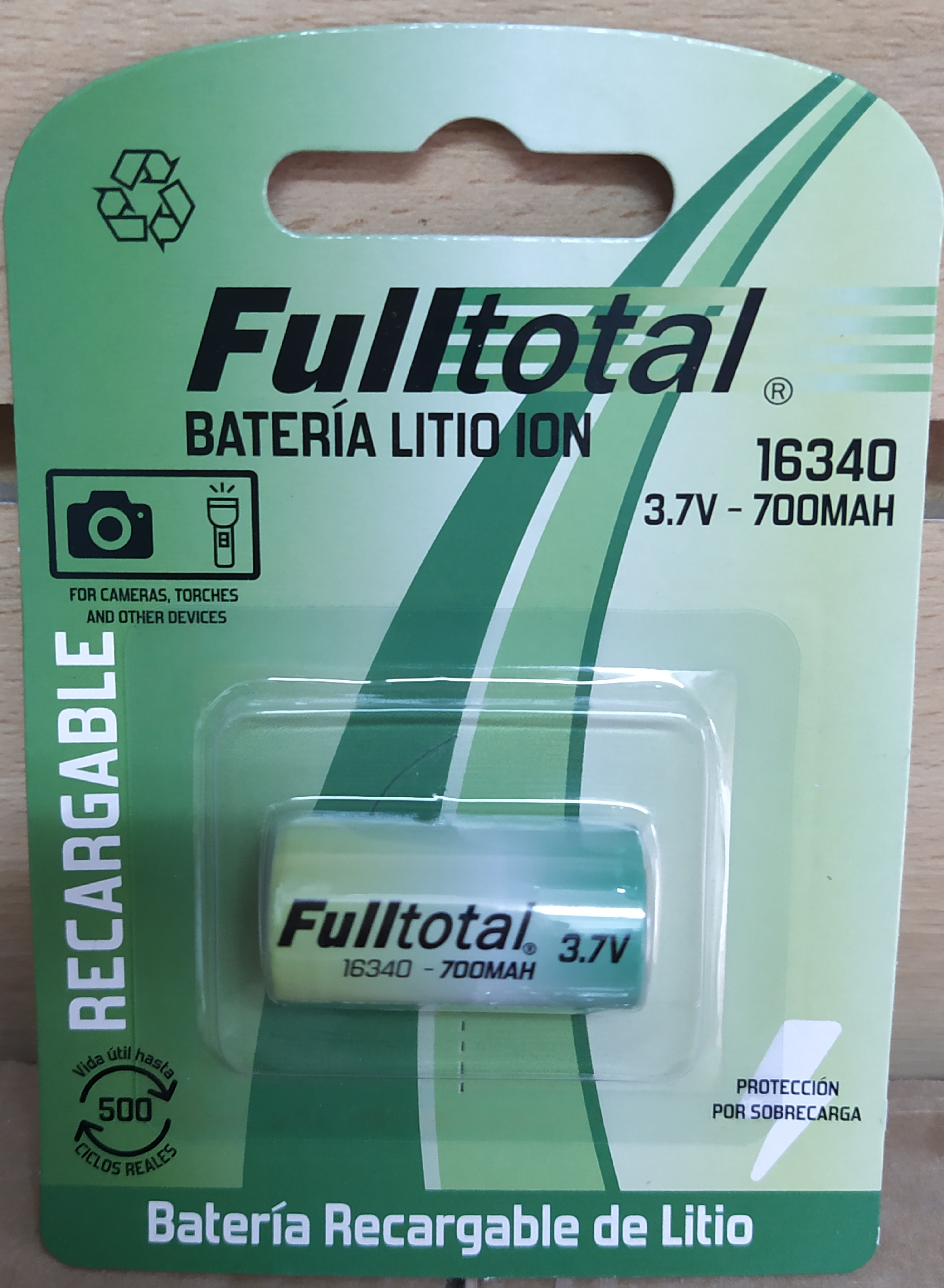 E16 BATERÍA RECARGABLE DE LITIO ION F-TOTAL 16340