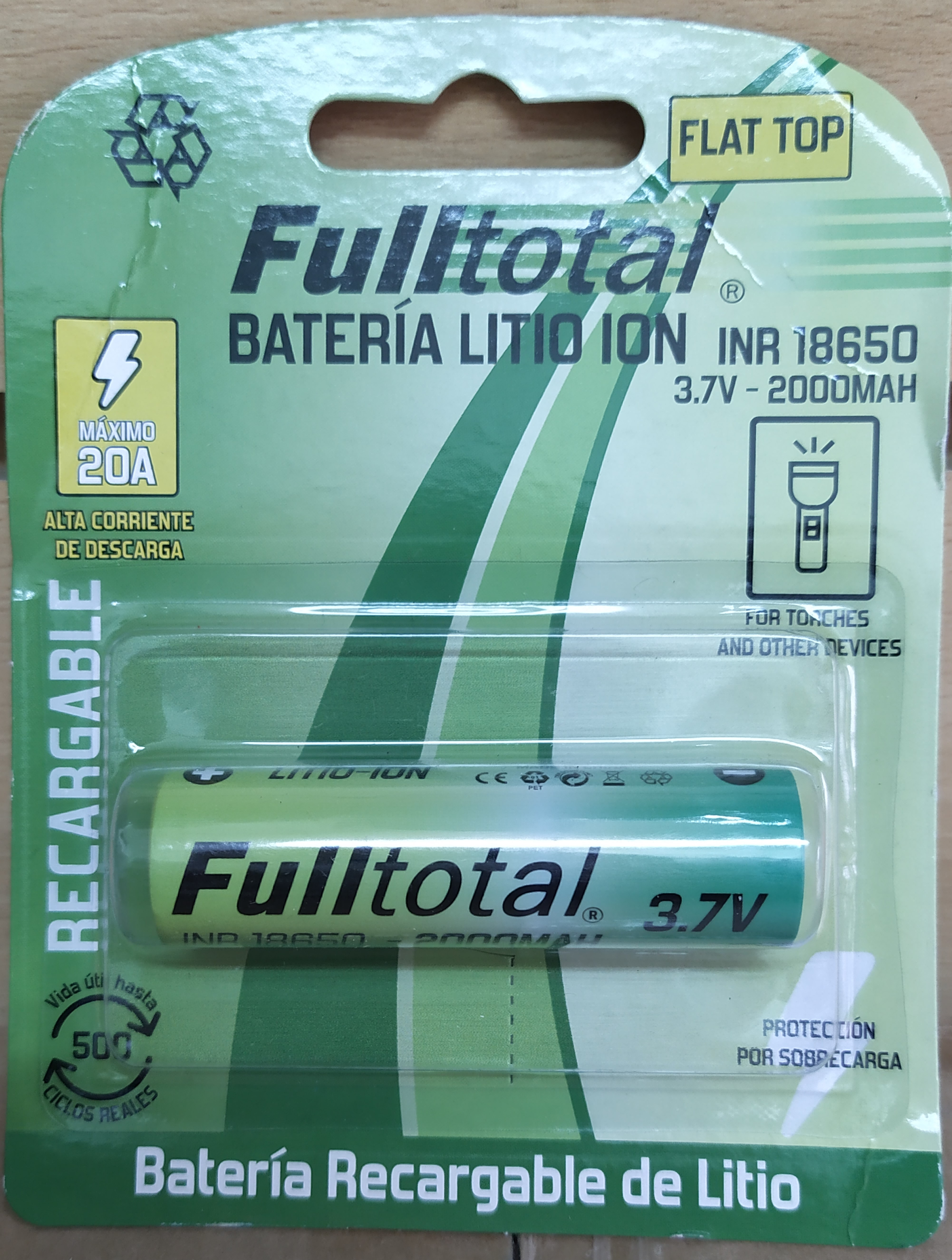 E16 BATERÍA RECARGABLE LITIO ION F-TOTAL 18650/2000MAH