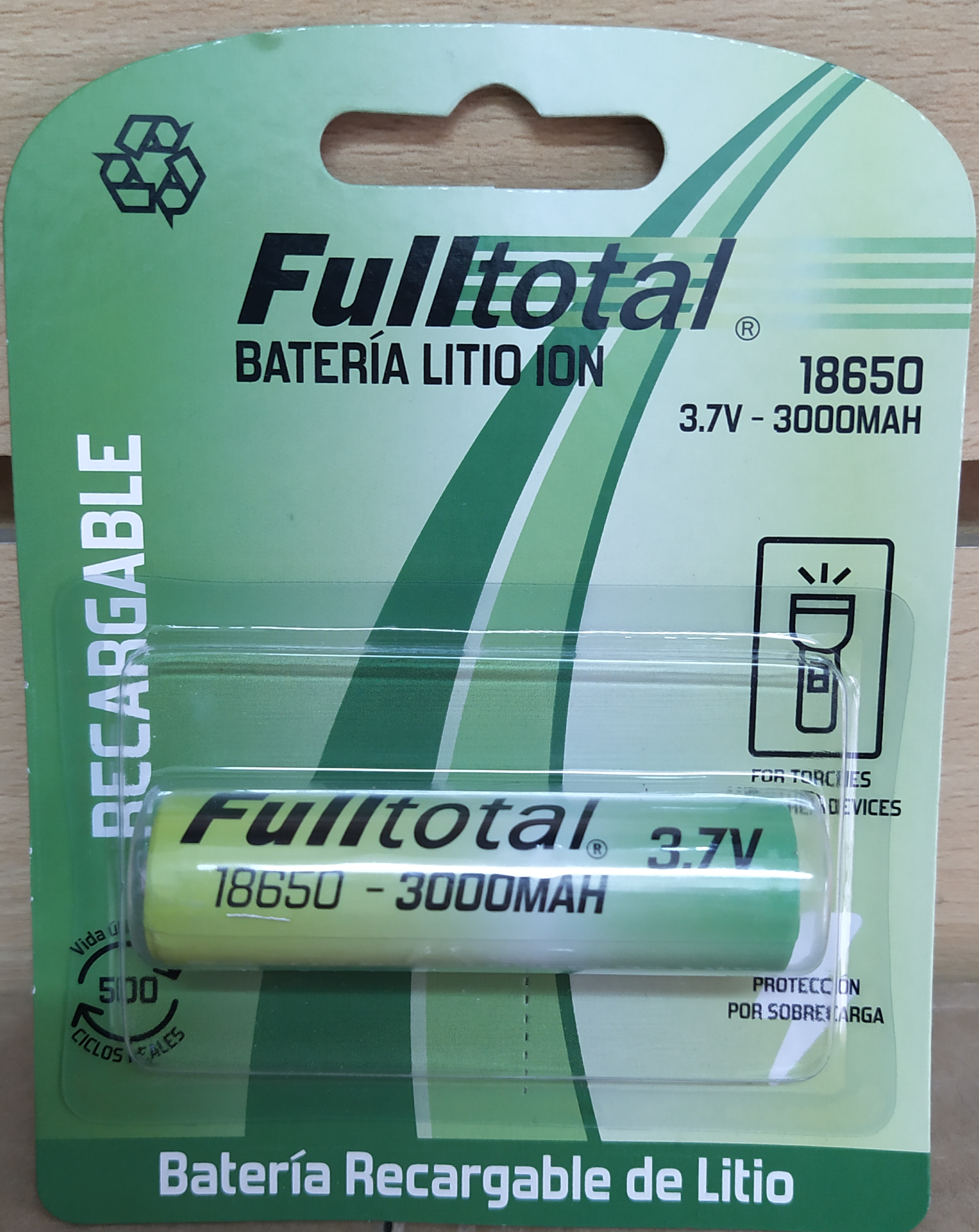 E16 BATERÍA RECARGABLE DE LITIO ION F-TOTAL 18650/3000MAH