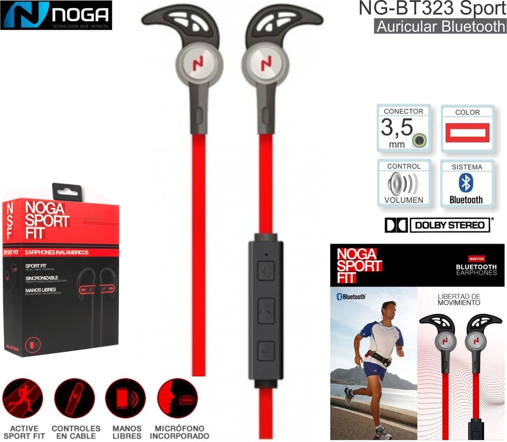 AURICULARES NOGANET NG-BT323 BLUETOOTH SPORT FIT REMOTO