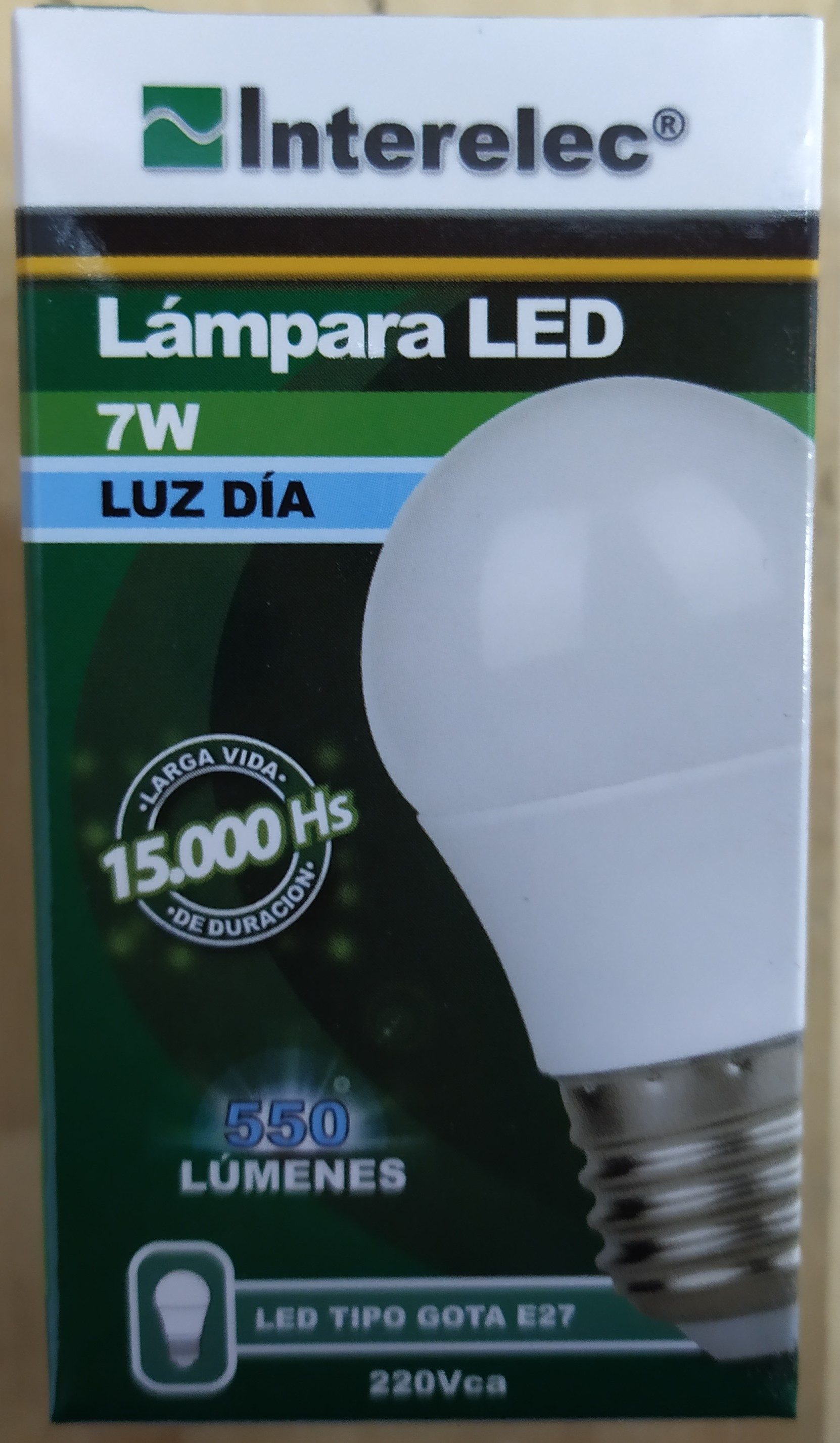 E16 LAMPARA LED TIPO GOTA BLANCO FRIO 7W E27 INTERELEC